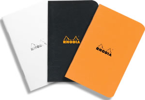 A7 Pocket Size Side-Stapled Pads - Available in orange, black or Rhodia Ice